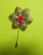HAND PAINTED RED POPPY PIN Bronze Tone Filigree Flower Remembrance Lapel Brooch