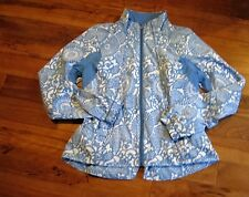LULULEMON TRAVEL TO TRACK JACKET IN BEACHY FLORAL PRINT PORCELAINE BLUE SIZE 8