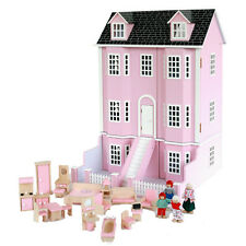 Pink Victorian Wooden Dolls House Furniture & Dolls Family