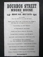 (850)OLD WEST BROTHEL BOURBON STREET WHORE HOUSE RULES NOVELTY PUB POSTER 11x17""