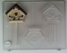 BIRDHOUSE WITH FLORAL DECORATION LOLLIPOP AO108 CLEAR PLASTIC CANDY MOLD