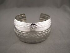 """Silver tone metal bangle cuff 1 3/8"""" wide bracelet textured stamped pattern"""
