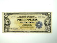 1944 FIVE PESO VICTORY SILVER CERTIFICATE NICE BANKNOTE - PHILIPPINES WWII