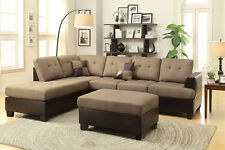 Sofa Reversible Chaise Ottoman 3Pc Sectional Set Tan Color Living Room Furniture
