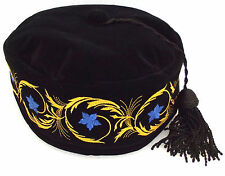 Imperial smoking hat Black cap Black tassel Blue embroidered flowers 60 cm XL