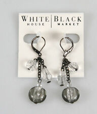 White House Black Market WH6050EW Gunmetal Faceted Crystal and Murano Earrings