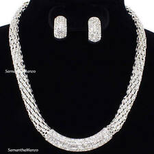 Micro Pave Set Cz Crystal BLING Necklace Hoop Earring Set Mesh Silver SP NEW