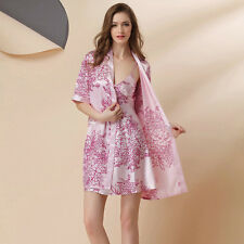 NEW Sexy Womens Silk Satin Pajamas Set Sleepwear&Robes Nightdress Nightgown P009