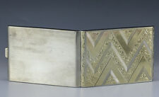 German .800 Silver Gold Plated Cigarette case Chevron Pattern Hand engraving