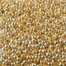 1000 Pcs gold tone crimps round findings beads h0288