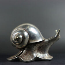 collectible old china Tibet silver carved snail delicate rare solid statue decor