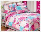 White Pink Aqua Flower Dot Sweetheart Single Double Queen Quilt Doona Cover Set