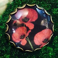 Vintage Style Glass Scottish Red Poppy Collectors Hand Made Brooch
