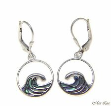 925 Sterling Silver Hawaiian Ocean Wave Abalone Shell Paua Leverback Earrings