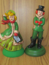 "VINTAGE CHRISTMAS CAROLER FIGURINES 9 3/4"" & 10 1/4"" TALL SIGNED C. GILL"
