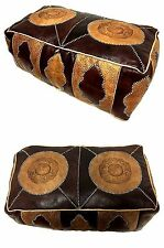 Moroccan Leather Hassack Rectangular Ottoman Pouf Seat in Brown Tan Large Poof