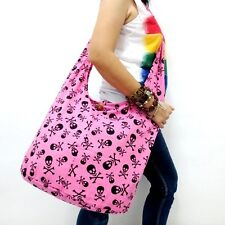 PINK LARGE HOBO YAAM SHOULDER BAG SLING HIPPIE CROSSBODY SKULL THAI GHOST MONK