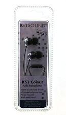 """KitSound"" KS1IPBK KS1 Colour Stereo In Ear Earphones Headphones with Mic Black"