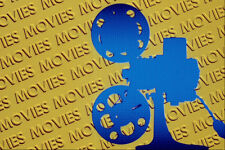 520046 Film Projector Over Yellow movies Background A4 Photo Texture Print