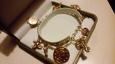 RARE Vintage 9ct 375 Solid Yellow Gold Traditional Charm Bracelet & 9 Charms***