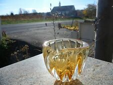 Mid Century Modern Clear Amber Yellow Art Glass Bowl Chalet Free Form Stretch