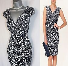 Phase Eight Navy/Cream Ledbury Floral Print Silky Jersey Pencil Dress 10/38 £99