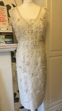 Monsoon SIMRAN Ivory Sequin Beaded Pearl Dress Bridal/mother Of Bride Size 14