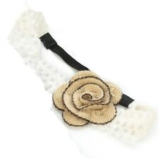 Stone Wool Crochet Flower Motif Elastic Headband Head Wrap Forehead Hair Band