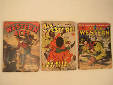 3 Vintage 1940's Western Pulp Stories Magazines Fighting Aces Star