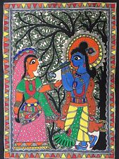 "Madhubani mithila dipinto 'Radha Krishna ""INDIAN Tribal FOLK FINE ART fatto a mano"