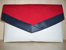 NAUTICAL OVERSIZE  NAVY BLUE, RED & WHITE faux  leather clutch bag BN