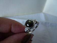 9ct White Gold Quartz Cat's Eye & Diamond Ring, Size N 1/2