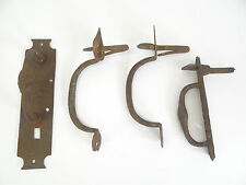 Mixed Antique Lot Wrought Iron Blacksmith Made Door Handles Pulls Thumb Latch