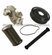 WATER PUMP + PULLEY + 2 Water Pipe to Engine Block / Alternator Housing for BMW
