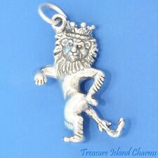 WIZARD OF OZ COWARDLY LION WITH CROWN 3D 925 Solid Sterling Silver Charm Pendant