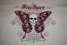 Free Spirit Wild Child Skulls Butterfly T-Shirt Mens Womens 3XL