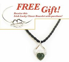 Irish Connemara Marble Claddagh Pendant on Silk Cord + FREE Gift!