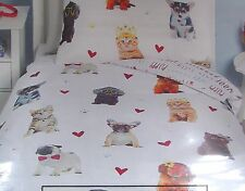 Dogs & Cats & Hearts Single Duvet Cover Set Dachshund Pug French Bulldog - NEW