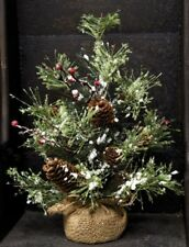 New SNOWY PINE CHRISTMAS Tree Burlap Berries Pinecone Table Country Primitive
