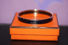 HERMES Bangle Narrow Caleche Logos Bracelet Black Enamel/Silvertone Year +D 65mm