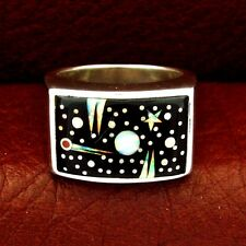 Calvin Begay Sterling Silver Night Sky Men's Ring Size 10 --- R84 D