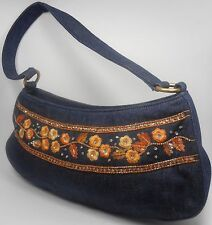 ESCADA Vintage Purse Handbag Baguette Blue Jeans Denim Embroidered Flower Orange