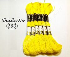 6 Yellow Anchor Cotton Thread Skeins embroidery floss most demanding color - 8m