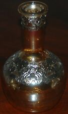Vintage Iridescent Amber Glass Vase Decanter With Metal Overlay Design