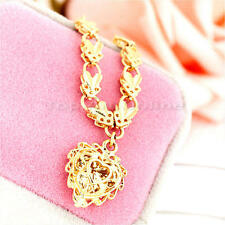 18K Rose Gold Filled Filigree Heart Pendant Necklace Chain Fashion Women Jewelry