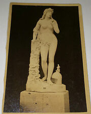 Antique Beautiful Female Nude Marble Statue on Pedestal! Old Victorian CDV Photo