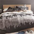 King Bed Downtown Print: Black, Grey, White Quilt / Doona / Duvet Cover Set