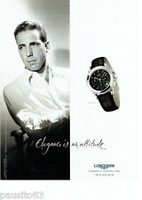 PUBLICITE ADVERTISING 096  2002  la montre Longines Flagship Humprey Bogart