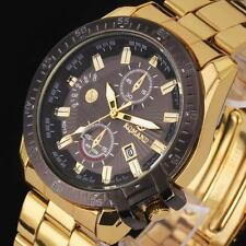 Luxury Gold Stainless Steel Date Quartz Analog Sport Military Wrist Watches Gift