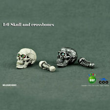 2pcs COOMODEL 1:6 Skull and Crossbones Head Model W Movable Eyes F 12'' HT Body